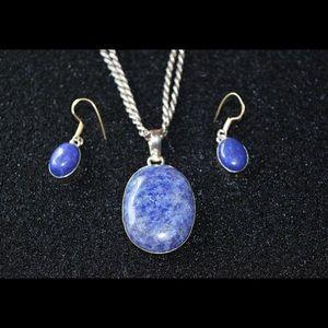 Lapis Lazuli Pendant & Earrings